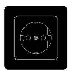 Electric socket black outline drawing vector