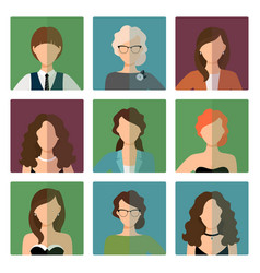female avatars set in office style vector image