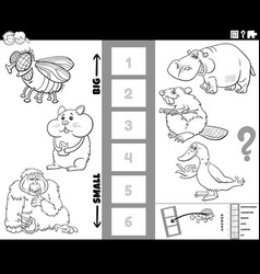 find biggest and smallest animal cartoon game vector image