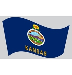 Flag of Kansas waving on gray background vector
