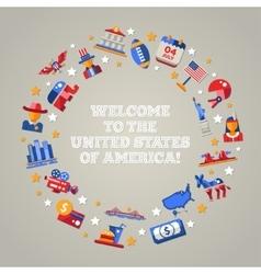 Flat design USA travel postcard with landmarks vector