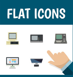 flat icon computer set of vintage hardware pc vector image