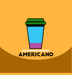 Flat icon design collection cup of americano vector