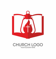Gods lamp and bible vector