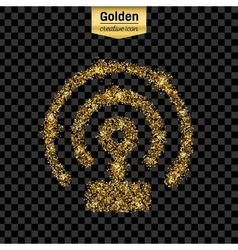 Gold glitter icon of wifi isolated on vector image