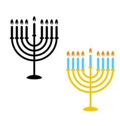 Hanukkah menorah candles icons monochrome and vector