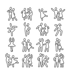 happy dancing woman and man couple icons disco vector image