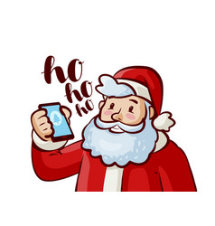 happy santa claus with phone in hand christmas vector image