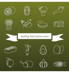 healthy food outline icons vector image