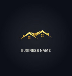 Home real estate roof company gold logo vector