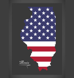 Illinois map with american national flag vector