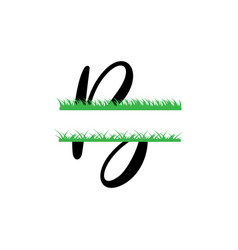 Initial b grass monogram split letter isolated vector