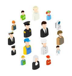isometric men 16 different professions vector image