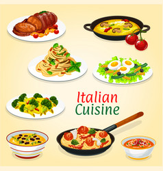 Italian dishes of pasta meat fish and vegetables vector