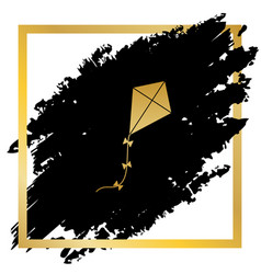 kite sign golden icon at black spot vector image vector image