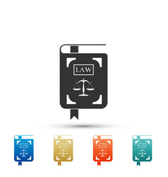 Law book statute book with scales of justice icon vector