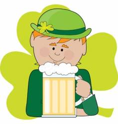 Leprechaun and beer vector