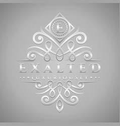 letter e logo - classic luxurious silver vector image