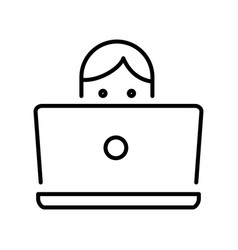 linear monochrome icon student in front laptop vector image