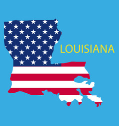 Louisiana state of america with map flag print vector