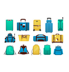luggage cartoon travel plastic suitcases and vector image