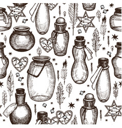 Magic seamless pattern with glass flasks vector