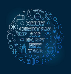 merry christmas and happy new year blue line vector image