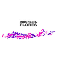Mosaic flores islands indonesia map dots and vector
