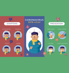 Multi-coloring covid-19 infographics with symptoms vector