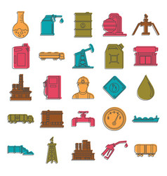 Oil and gas industry doodle icons set vector