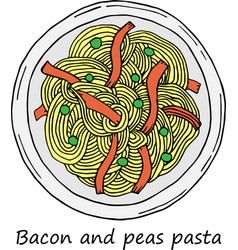 pasta in cartoon style vector image