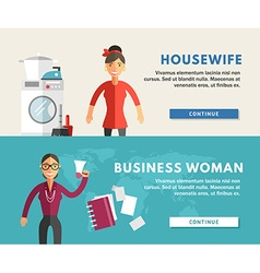 Profession Concept Business Woman and Housewife vector