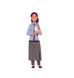 professional waitress holding bottle and champagne vector image