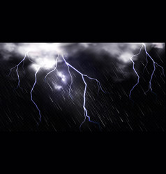 rain with lightning and clouds in sky at night vector image