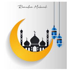 Ramadan kareem mosque in cresent moon with vector