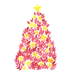 Red leaf and star christmas tree watercolor vector