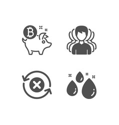 reject refresh group and bitcoin coin icons vector image