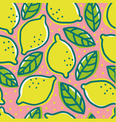 retro pattern with lemons vector image