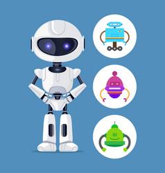 Robot standing calmly set vector