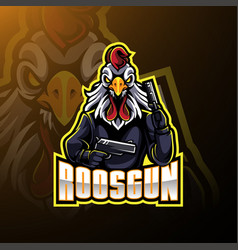 rooster with gun mascot logo design vector image