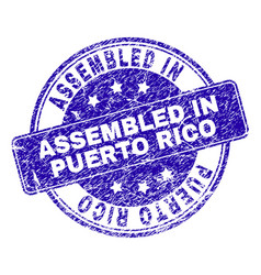 Scratched textured assembled in puerto rico stamp vector
