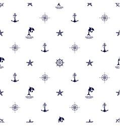 seamless cute marine pattern on white background vector image
