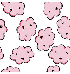 Seamless pattern kawai pink clouds vector