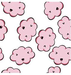 Seamless pattern kawaii pink clouds vector