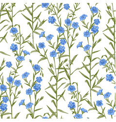 Seamless pattern with hand drawn flax vector