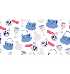 Seamless pattern with pots witch kettles grails vector