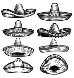 Set mexican sombrero in tattoo style isolated vector
