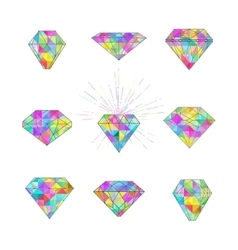 Set of polygonal mosaic diamonds vector image