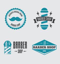 set vintage barber shop logo labels badges vector image