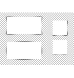 set white banners with shadows on transparent vector image